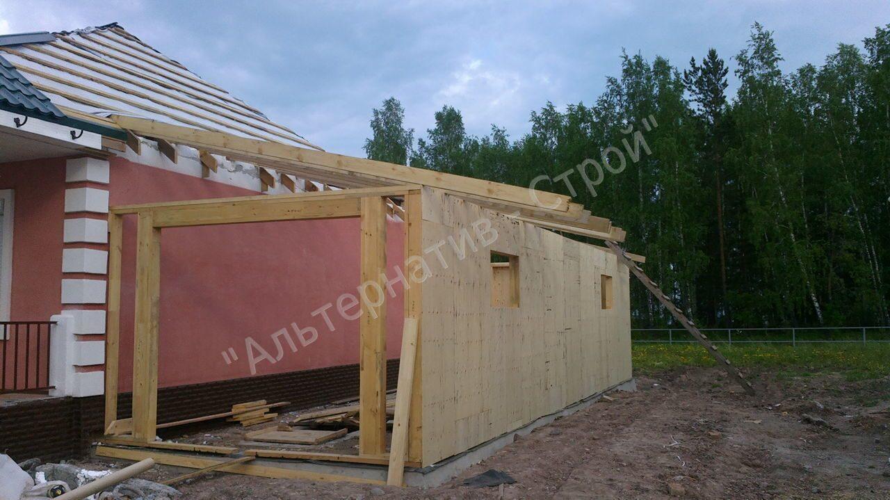 Как пристроить гараж к деревянному дому своими  368